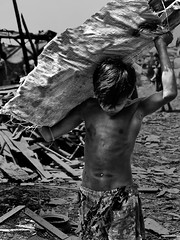 Ulingan, Tondo - Heavy, Smoky, Sweaty and Dirty (Mio Cade) Tags: boy shirtless bw white black kid factory child heart labor social dirty sweaty charcoal smoky care heavy load issue carry hardship ulingan