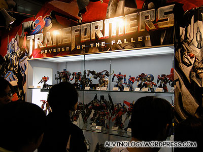 Some Transformers figurines on display