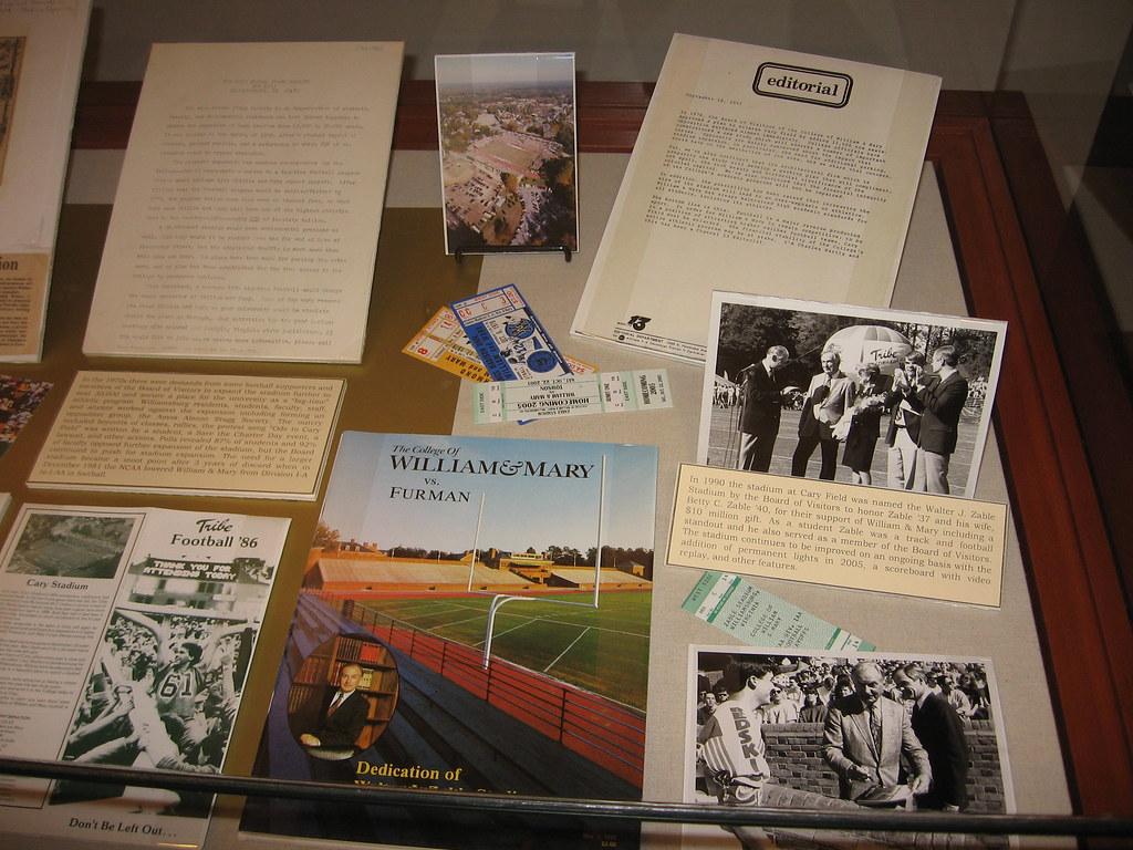 Cary Field Exhibit Case - Zable Stadium dedication close-up