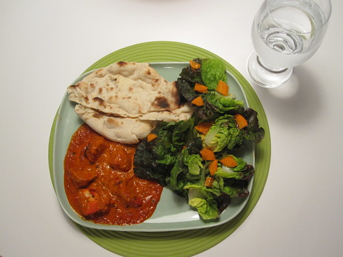 Leftover Indian food and a salad