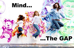 "GAP Kids (""Mind...The GAP"") (rebyre2009) Tags: en orange rose kids advertising pub eva all annabelle femme arc gap fast graph vert bleu ciel judith mind advert denim casual always around emilie enfant publicit saut agata homme modele fondation cartiershabir"