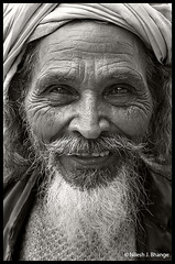 F a k i r (bnilesh) Tags: old portrait people india senior smile happy blackwhite details fakir