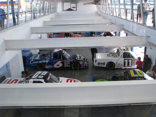 The trucks sit in empty stalls in the garage area post-practice and pre-qualifying.