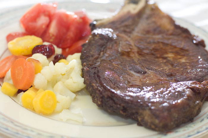 pan-seared rib-eye steak