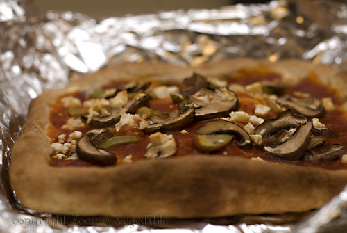 Thick crust whole wheat pizza