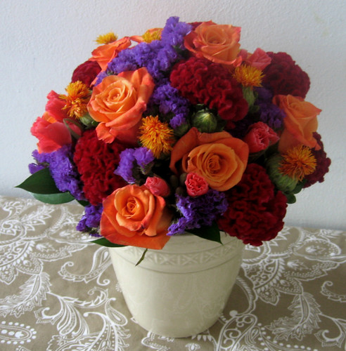 birthday red orange purple bouquet