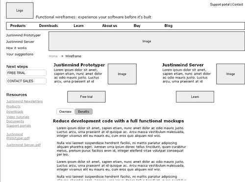 Wireframe products page