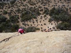 Climber (Laurel Fan) Tags: pink sandstone climbing redrocks climber pinkhat sandstonequarry