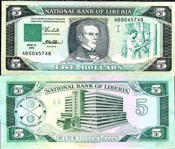 5 Dolárov Liberia 1989, P19
