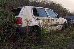 Golf (Suffolk Makam) Tags: old broken car golf rust decay messy rubbish scrapyard scrap derelict