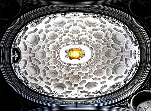 Cúpula elíptica en la iglesia de San Carlino alle Quattro Fontane, obra de Borromini