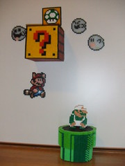 3D mario block and pipe (supergiantswing) Tags: mushroom 3d box ghost nintendo pipe sprite mario boo bead nes 1up luigi hama perler snes
