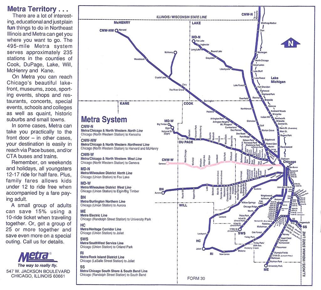 Metra map, spring 1995