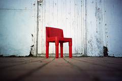 little red chair (lomokev) Tags: red white color scale lomo lca lomography chair focus brighton dof kodak seat low small perspective kodakportra400vc ground lomolca depthoffield tiny groundlevel teaching portra lomograph childseat kodakportra400 ratseyeview kodakportra brightion garagestudios hotshotscourse file:name=090128lomolcaa14 roll:name=090128lomolcaa hotshotsgaragecourse shotonhscourse