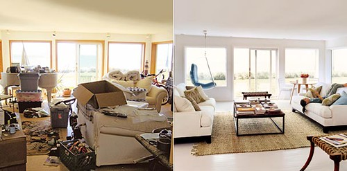 Before & after living room: Painted floors + white upholstery + jute rug