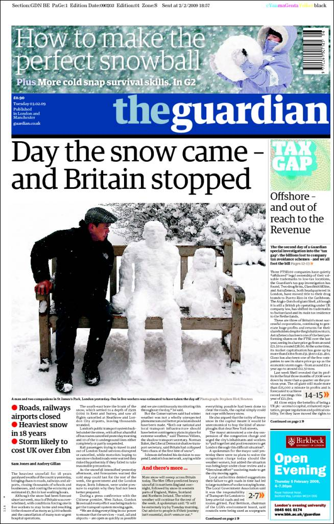 The Guardian - Nevadas en Londres