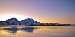 Red wintertime in Norway (Larsenio) Tags: sea norway landscape coast norge sunsets icy molo hav andya landskap kyst pentaxk10d