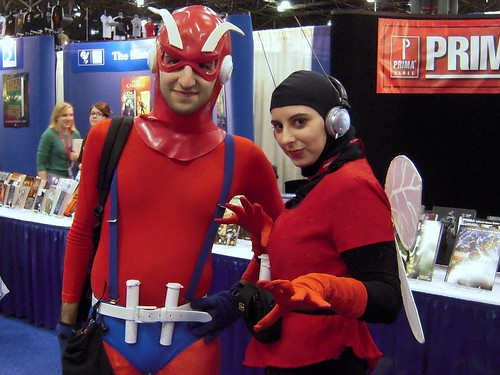 A couple dressed as Ant-Man and the Wasp in their earliest costumes