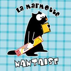 LA Marmotte nantaise (am and my) Tags: blue illustration am collection groundhog badge production brand nantes lu petit amélie beurre ammy graphisme marmotte marmotts