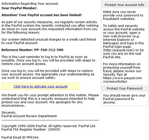 Anatomy of a PayPal Phishing Scam email