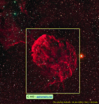 Image of the Jellyfish Nebula, annotated by Astrometry.net robot
