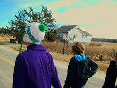 (Lindsay*) Tags: blue trees sky house color hat clouds walking purple ryan connor brendan
