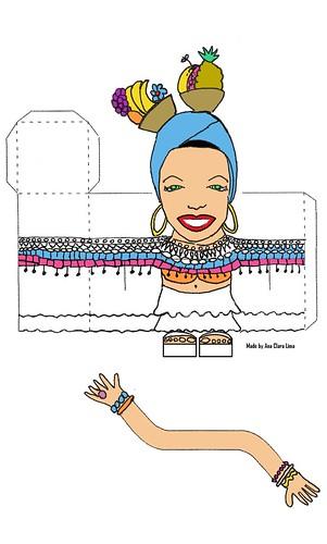 Carmen Miranda papertoy color template