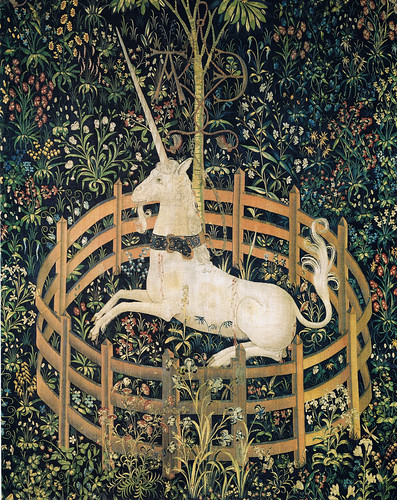 Tapestry no. 7: The Unicorn in captivity (detail) by petrus.agricola.