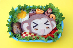 Coco bento (Food, Fash, Fit) Tags: cute apple lunch japanese monkey burger egg ham lettuce coco kawaii bento obento facefood tokyotoys charaben joannazhou