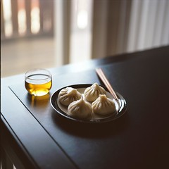 Dim Sum at Home (Inside_man) Tags: stilllife food 120 6x6 mamiya tlr c220 film colors mediumformat colorful tea bokeh teacup xiaolongbao portranc steamedbun dimsumathome
