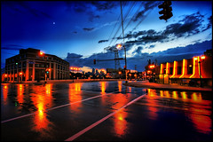 dinkytown - university of minnesota, minneapolis (Dan Anderson.) Tags: street blue red storm reflection wet rain minnesota night clouds campus lights town university minneapolis uofm intersection twincities mn dinky dinkytown uom dananderson