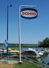 OH Delaware - Sohio Sign (scottamus) Tags: park old ohio sign creek marina vintage state gas delaware alum sohio delawarecounty