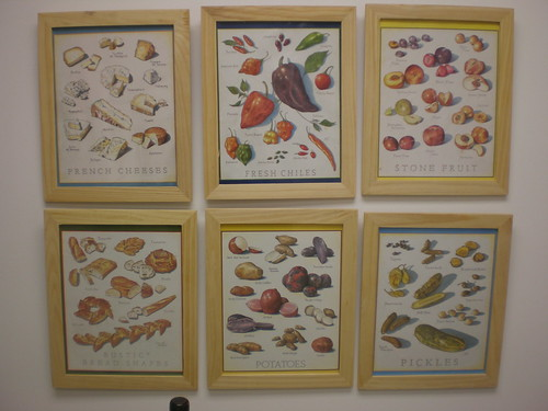 Six back covers from Cooks Illustrated in Ikea frames on our kitchen wall