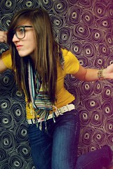 (Leigh Ellexson) Tags: blackandwhite yellow self pose hair glasses belt long pale jeans backdrop straight leigh swirly scrf