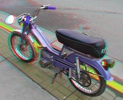 Mobylette (Anaglyph 3D) (patrick.swinnea) Tags: minnesota bike bicycle stereoscopic stereophoto 3d anaglyph motorbike crosby mobylette 50v