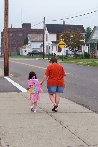Walking Julia to her first day at Kindergarten