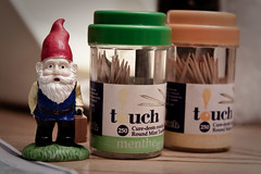 Life at 3 cm tall (167/365) (Dave Triomphe) Tags: travel red tooth garden gnome ab deer toothpicks cedric traveling