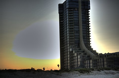 condos on south padre (Lcrward) Tags: ocean lighting light sunset summer sun beach backlight hotel weird texas bright highrise condos 2009 spi southpadre