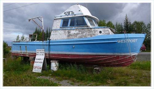 Drydocked fishing boat, Anchor Point, AK.