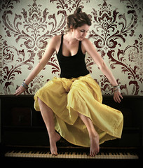 hold a tune (Jennifer Elysse) Tags: wallpaper music motion blur love girl yellow wall vintage paper keys toes top piano hippy skirt retro tippy tootsies