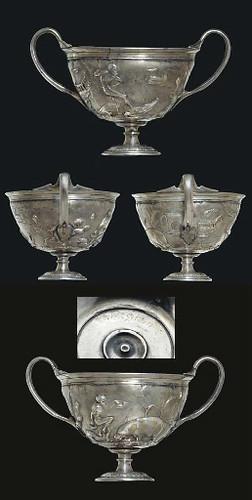 ROMAN PARCEL GILT SILVER SKYPHOS CIRCA LATE 1ST CENTURY B.C.-EARLY 1ST CENTURY A.D.