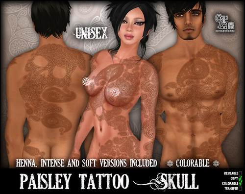paisley tattoos. Paisley Tattoo - Skull This
