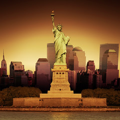Statue Of Liberty (ilina s) Tags: nyc sunset newyork photoshop river skyscrapers purple front empirestatebuilding hudson statueofliberty frontal canon30d