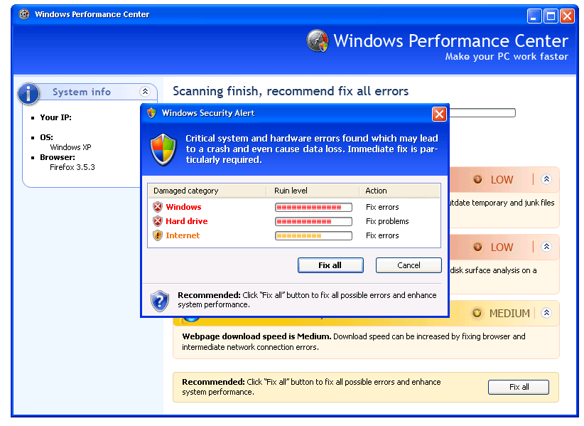 Windows Performance Center Rogueware