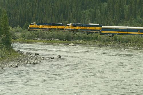 Train following Susitina River