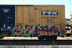 Cozy/Mte (quiet-silence) Tags: railroad art train graffiti cozy sauce railcar boxcar graff freight outlaws opm vrs tbox ttx fr8 railbox mte sixr tbox666398