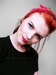 Cherry lips (basistka) Tags: woman girl up cherry pin poland lips retro basistka xbasistkax