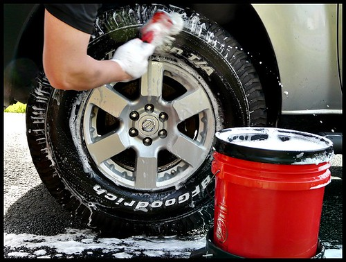 Wash the tire with soapy water