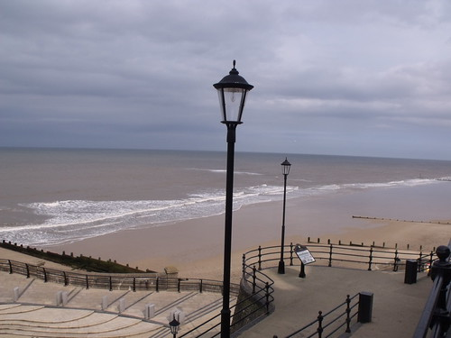 The sea and beach at Cromer - lampposts