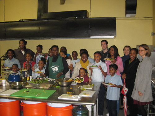 The Healthy Solutions kids cooking class enjoy their meal. Healthy Solutions' mission is to promote healthy lifestyles in underserved communities.
